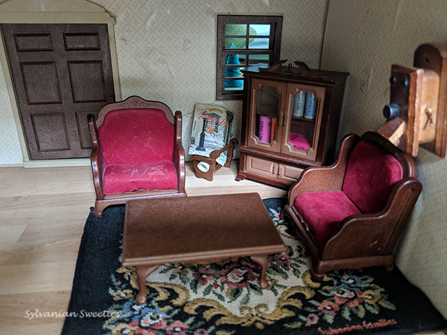Urban Life Living Room - Bookcase, Velvet Chairs, Coffee Table, Fancy Rug